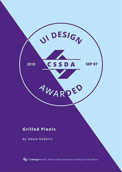 CSSDA - Best UI Design 2018 - Grilled Pixels